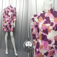 Vintage 60s Mod Mini Shift Dress Mad Men Scooter Dollybird Gogo Outfit 1960s S Psychedelic Print Pink Pattern Micro Dress High Neck Twiggy