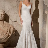 Mori Lee 2704 Lace Fit and Flare Wedding Dress