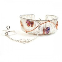 Handmade Butterfly Slave Bracelet Silver Wire Cuff with Ring Attached   BrainofJen - Jewelry on ArtFire