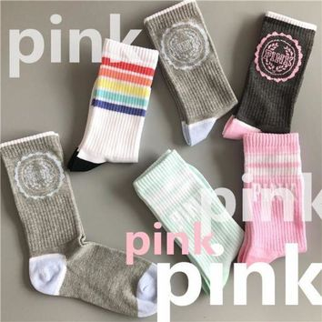 DCCKNQ2 PINK Fashion Sport Gym Stretch Socks Stockings-3