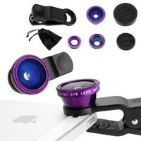 Universal 3 in 1 Cell Phone Camera Lens Kit - Fish Eye Lens / 2 in 1 Macro Lens & Wide Angle Lens / Universal Clip (Purple)