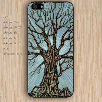 iPhone 4 5s 6 case black Ancient trees colorful phone case iphone case,ipod case,samsung galaxy case available plastic rubber case waterproof B649