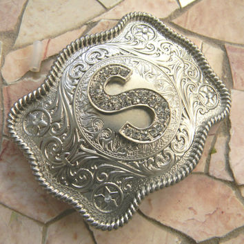 Monogram Letter S Personalized Silver Belt Buckle, Rhinestone Initial S Monogrammed Womens Mens Kids Western Belt Buckle, Custom Belt Buckle