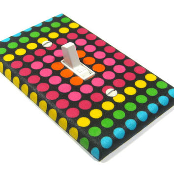 Rainbow Polka Dots Light Switch Cover Disco Dot Modern Decor Switchplate 1313