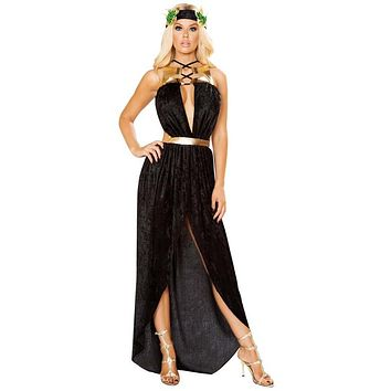 Sexy Aphrodite Greek Goddess of Love Lace-Up Draped Maxi Dress with Leaf Headband