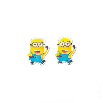 Despicable Me Minion Post Earrings by ThisAndThatCharm on Etsy