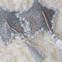 Silver glitter SHOOTING STAR Nipple PASTIES with pearls and tassels Bride Burlesque Festival Lingerie Costume Bachelorette