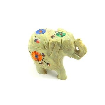 Vintage Hand Carved Soapstone Elephant with Semi Precious Stone Inlay