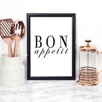 BON APPETIT SIGN, French Quote,French Poster,Kitchen Wall Art,Kitchen Sign,Kitchen Decor,Quote Posters,Food Print,Typography Quote,Quote Art