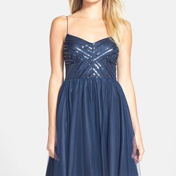 Women's Aidan by Aidan Mattox Spaghetti Strap Sequin & Tulle Dress (Online Only)