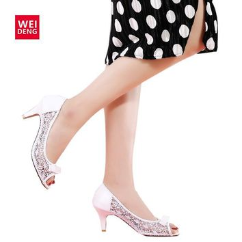 Retro Women Lovely Pump Genuine Leather High Heel Hollow Casual Party Dance Office Lad