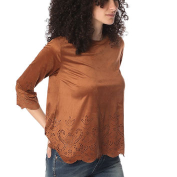 Camel suede top with laser cut outs