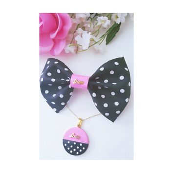 Polka Dot Hair Bow,Barrette and Clip,Hairbows,Necklaces for girls,Pink Hair Bow,Nylon Headbands, Fabric Hair Bow, Polka Dot Beads,Hair Bows