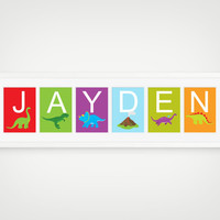Dinosaur Art  - Personalized Name Print, Boy or Girl Room Decor, Dinosaur Room Decor, Dino Nursery, Individual 4x6, 5x7, 8x10