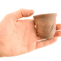Ceramic shot glass with patterns handmade clay drinkware decorative pottery