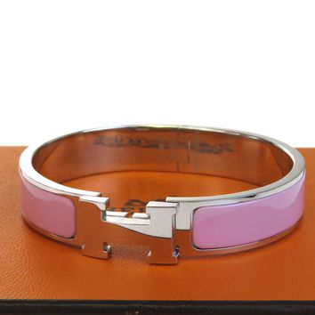 Authentic HERMES H Logo Bracelet Bangle Plastic Silver Plated Accessory 32BD516