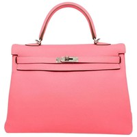 Hermes Kelly 35 Rose Lipstick Pink Clemence Leather Silver Metal Top Handle Bag