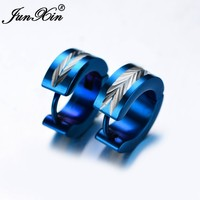 JUNXIN Punk Female Blue Round Hoop Earrings Stainless Steel Earrings Double Sided Earrings For Women Fashion Jewelry