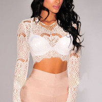 White Sheer Lace Long Sleeves Crop Top