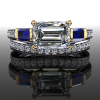 Forever Brilliant Moissanite Diamond and Sapphire Engagement Ring and Band 2 CTW
