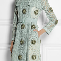Burberry Prorsum | Embellished cotton-blend lace trench coat | NET-A-PORTER.COM