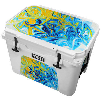 Yellow Entagled In Aqua Blue Paint Skin for the Yeti Tundra Cooler