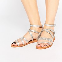 London Rebel Bobby Tie Up Strappy Flat Sandals