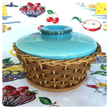 1960s Aqua Hull Oven Proof Baking Dish with Basket Vintage Turquoise Pottery Vintage Kitchen