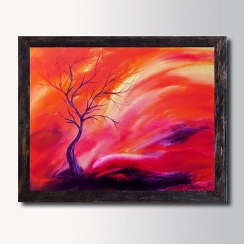 Pink Orange Sunset Landscape Tree Painting, Canvas Print, Abstract Oil Painting, Pink Red Abstract Wall Home decor, living room art