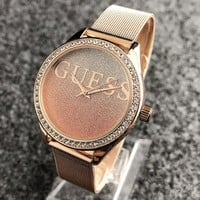 """""""GUESS"""" Fashionable Ladies Men Chic Diamond Starry Sky Dial Movement Watch Business Wristwatch"""