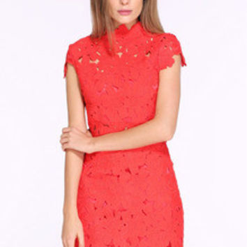 Red Melon Cap Sleeve Crochet Lace Zipper Dress