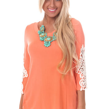Dark Peach Crochet Sleeve Slit Back Top