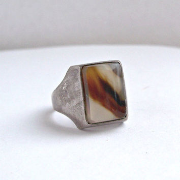 Vintage Moss Agate Sterling Silver Ring,Art Deco Agate Ring,Silver Moss Agate Ring,Mens Moss Agate Ring,Moss Agate Ring Size 8.5,Agate Ring