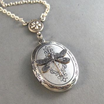 MeadowSilver Dragonfly LocketVictorian by ValleyGirlDesigns