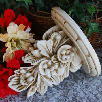 Shabby chic home decor: Ornate vintage white hand-painted decorative scroll wall sconce shelf