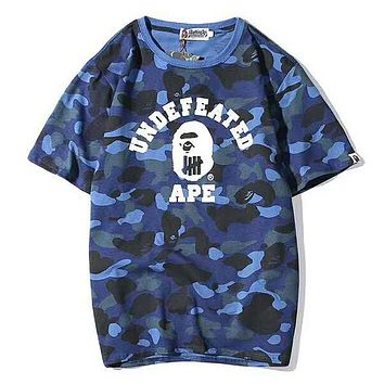 Bape Aape & UNDEFEATED Summer Fashion New Letter Print Camouflage Women Men Top T-Shirt Blue