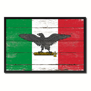 Italy War Eagle Italian Military Military Flag Vintage Canvas Print with Picture Frame Home Decor Man Cave Wall Art Collectible Decoration Artwork Gifts