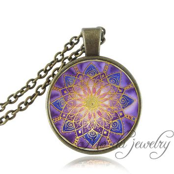 Crown Chakra Mandala Jewelry,Spiritual,Reiki,Meditation Yoga Pendant Purple Blue Pink Om Flower Statement Necklace Friend Gifts
