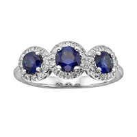 The Regal Collection 14k White Gold Genuine Sapphire & 1/5-ct. T.W. IGL Certified Diamond 3-Stone Frame Ring (Blue)