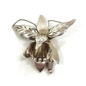 Sterling Silver Orchid Pin / Brooch, Mexican Sterling Brooch, Realistic 3D Orchid Flower Pin, Hair Accessory, 1940s, Vintage Jewelry