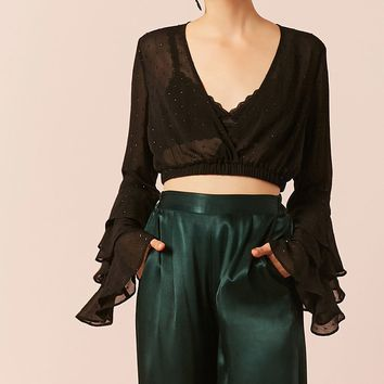 Sheer Bell-Sleeve Crop Top