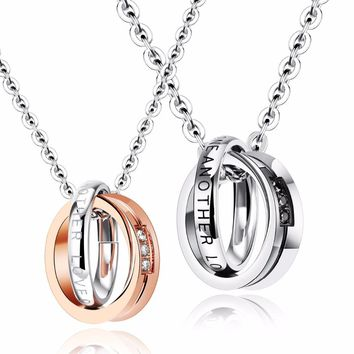 Couples Double Circle of Life Necklace Eternity Linked Band