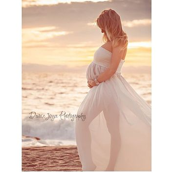 Maternity Maxi dresses Maternity Photography Props Chiffon Dresses Off Shoulders Maxi Pregnant Dresses Pregnancy Photo Shoot