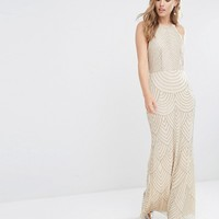 Maya High Neck Maxi Dress with Art Deco Embellishment at asos.com