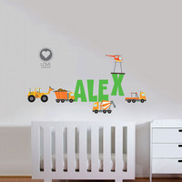 NAME and CONSTRUCTION CARS Fabric Wall Decals - Removable & Reusable Fabric vinyl-  Jungle animals with baby name decal - 87