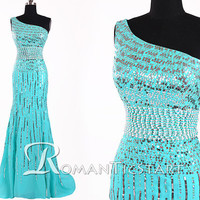 2015 blue beading long prom dress open back, one-shoulder prom dress evening, 80s chiffon prom dress party , prom dresses formal ,RS1045