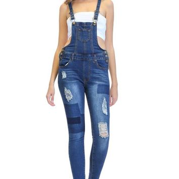 Women's Patched & Distressed Skinny Overalls