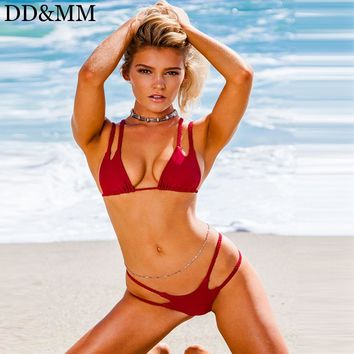 DD&MM Brazilian Bikini Set Women Push Up Swimwear Red Solid Bathing Suit Swimsuit For Women Strappy Thong Bottom Bikini