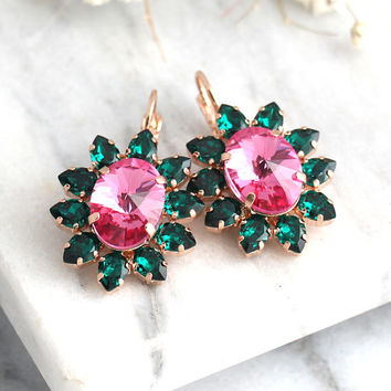 Green Pink Earrings, Emerald Earrings, Pink Green Drop Crystal, Bridesmaids Earrings, Emerald Swarovski Earrings, Gift For Her, Bridal Drops