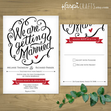 Elegant wedding invitation - Printable wedding invitation - DIY wedding invitation - Calligraphy wedding invitation